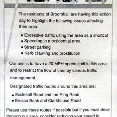 Campaign about Broomhall Park traffic Issues  | Photo: BPA