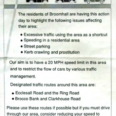 Broomhall Park Traffic Action Day Flyer, 1994 | Photo: BPA
