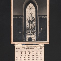 St Silas calendar and St Silas lady chapel window. September 1958 | Photo: Audrey Russell