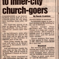 Newspaper cutting about the closure of St Silas Church. January 2000 | Photo: Audrey Russell