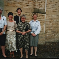 Left to right: unknown, Mary Quibell, Cath Brown, Audrey Russell, Christine McCluskey. 1999 | Photo: Audrey Russell