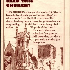 St Silas Church leaflet. Front cover. Early 1990s | Photo: Audrey Russell