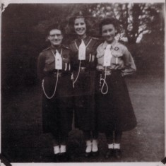 Left to right: Maureen Peachery (patrol leader), Pat Hardcastle (company leader), Mary Quibell (patrol second). 1950s | Photo: Audrey Russell