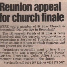 Newspaper cutting reunion appeal for the St Silas Church finale. Late 1990s | Photo: Audrey Russell