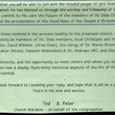 Invitation to the St Silas Church page 2. 9 July 2000 | Photo: Audrey Russell