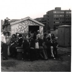 Young people congregating outside a shed on the Gell St Playground. 1970s | Photo: Our Broomhall