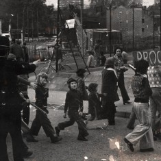 """Children holding a banner """"We want to Survive."""" 1980s   Photo: Our Broomhall"""