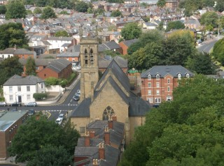 St Silas Church (centre) taken from the Hanover Flats roof. August 2014 | Photo: Our Broomhall