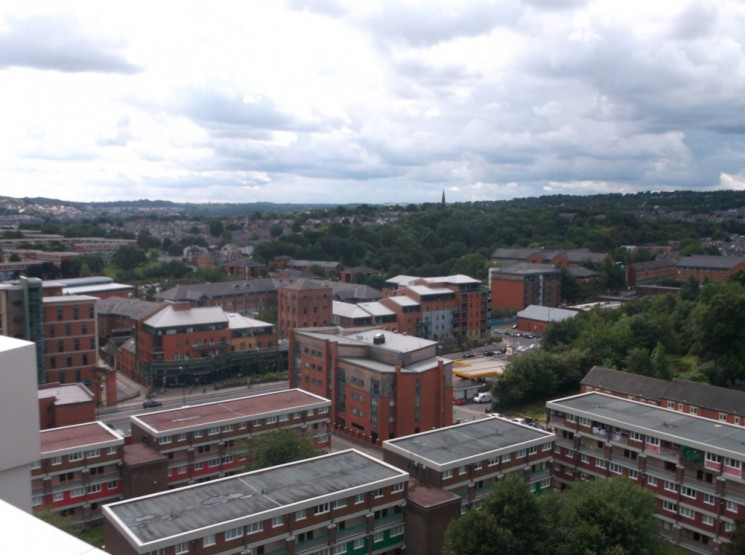 Ecclesall Road taken from the Hanover Flats roof. August 2014   Photo: Our Broomhall