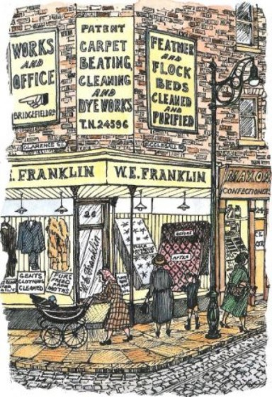 Illustration of W.E. Franklin Store on the corner of Clarence Street and Ecclesall Road taken from