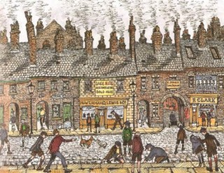 Illustration of shops on Young Street taken from