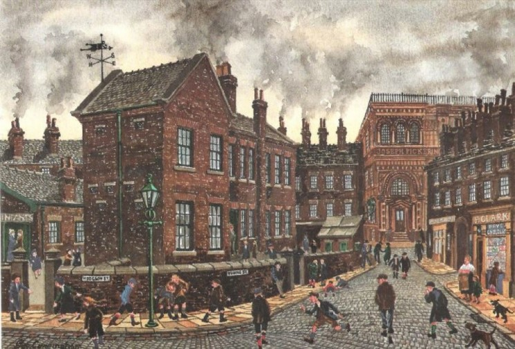 Illustration of Hodgson Street and Young Street taken from