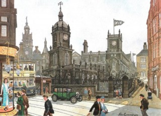 Illustration of St Paul's Church, Pinstone Street (now the Peace Gardens) taken from