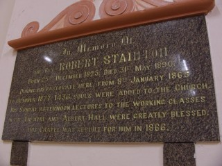 Rev. Stainton memorial tablet at Garden street chapel. 1866 | Photo: Jenny Clark