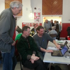 Richard Freeston, Andy King and Mike Petheridge (standing). March 2014   Photo: Our Broomhall
