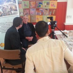 Chris Richardson and Sajid Ali interviewing visitors. March 2014   Photo: Our Broomhall