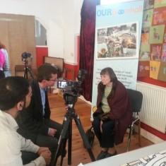 Chris Richardson and Sajid Ali interviewing Sadie Marshall. March 2014   Photo: Our Broomhall
