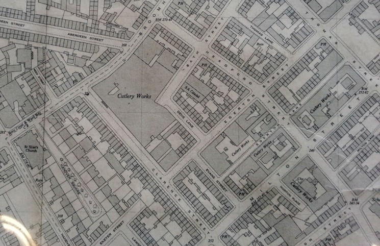 Old map of the cutlery area; Brian's workshop is in the Behhive Works, one of the 'Cutlery Works'' shown on Milton Street | Photo: SALS