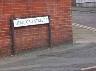 Street Sign for Headford Street. 2013 | Photo: Our Broomhall