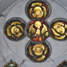 St Silas Building Recording day - stained glass window. April 2014 | Photo: Our Broomhall