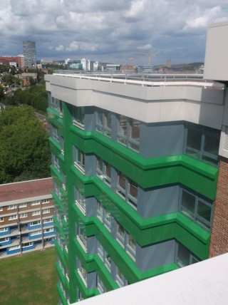 Hanover Flats from Hanover Tower roof. August 2014 | Photo: Our Broomhall