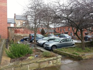 Former site of 4 Havelock Square, now the bottom of Holberry Gardens.2015   Photo: Our Broomhall
