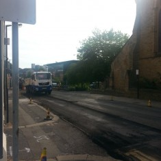 Road resurfacing outside St Silas Church. Summer 2014 | Photo: Our Broomhall