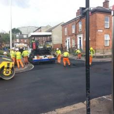 Road resurfacing on Upper Hanover Street. Summer 2014 | Photo: Our Broomhall