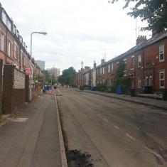 Road resurfacing on Brunswick Street. Summer 2014 | Photo: Our Broomhall