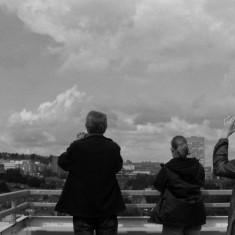Mick Taylor, Gemma Clarke and Jennie Beard on the Hanover Flats roof. August 2014 | Photo: Jepoy Sotomayor