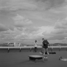 Claire Wilkinson, Benji Hamilton and James Jones on the Hanover Flats roof. August 2014 | Photo: Jepoy Sotomayor