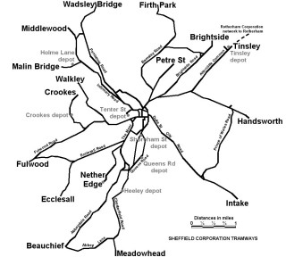 Sheffield Tramway Route Map. (Credit:Gregory Deryckère. Licensed under CC BY 2.5 )