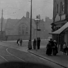 Still from 'Tram Ride through the City of Sheffield' (1902): Junction of London Rd and Queens Rd | Photo: British Film Institute