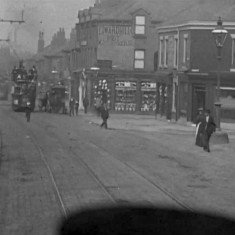 Still from 'Tram Ride through the City of Sheffield' (1902): Junction of London Rd and Alderson Rd | Photo: British Film Institute