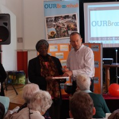 Our Broomhall Heritage open day event. Paul Blomfield and Mavis Hamilton at Book Launch. 2015 | Photo: May Seo