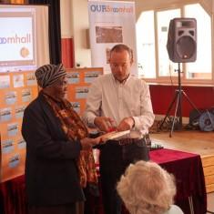 Our Broomhall Heritage open day event. Paul Blomfield and Mavis Hamilton at Book Launch. 2015   Photo: Simon Kwon