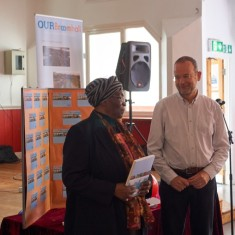 Our Broomhall Heritage open day event. Paul Blomfield and Mavis Hamilton at Book Launch. 2015 | Photo: Simon Kwon